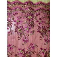 Embroidered Mesh Sequin Fabric Rose Red With Two Cords Manufactures