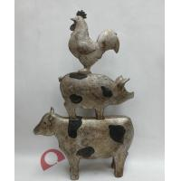 China FUNNY~~~ RESIN RURAL STACKING ANIMALS STATUE IN ANTIQUE FINISH -39.5CM on sale