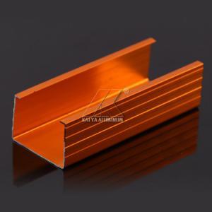 China Orange Anodized Aluminium Alloy Profile Heat Insulation For Rail Decoration Frame on sale