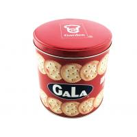 China Glossy Finished Christmas Cookie Tin Box Round Metal Tin Can 135 * 160mm on sale