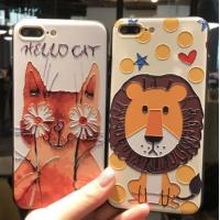IPhone Stylish Cell phones Covers Cases With 3D Relief Cute Cartoon Pattern Manufactures