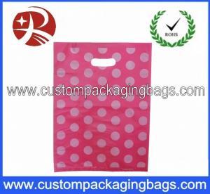 Pink Dot Printed Die Cut Handle Plastic Bags Waterproof For Supermarket Manufactures