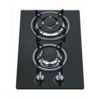 8mm Tempered Glass 2 Burner Gas Hob / Gas Cooker Cast Iron Pan Support Manufactures