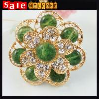 Crystal Rhinestone Brooches Emerald Flower Golden Brooch Vintage Corsage Pin Up Wholesale Manufactures