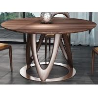 Nordic style Living room Furniture Walnut Wooden Circular Dining table in Special design Legs and Stainless steel plate Manufactures
