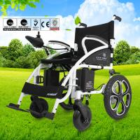 Custom Collapsible Electric Wheelchair , Travel Wheelchair Lightweight 130kg Manufactures