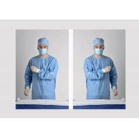 China Anti Static Blue Disposable Isolation Gowns Knitted Cuff / Cotton Cuff on sale