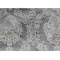 Cream Yarn Dyed Jacquard Woven Fabric for Dresses , Jacquard Bed Linen