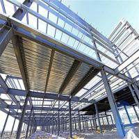 Durable Garage Steel Frame For High Building With Grey Paint / Floor Decking Manufactures