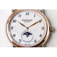 Quality Perfect Replica Montblanc Leagcy White Moon-Phase Dial Rose Gold Bezel Dark for sale