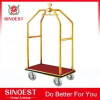 China Stainless steel hotel bellman birdcage luggage cart on sale