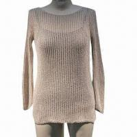 Ladies knitted pullover, made of 80% acrylic and 20% nylon, fancy yarn Manufactures