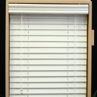 China 64mm pvc foamwood venetian blinds with steel high headrail and pvc foamwood bottomrail on sale