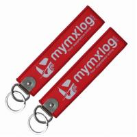 Luggage Bag  Custom Woven Keychain 130*30mm PMS Color  Merrowed Border Manufactures