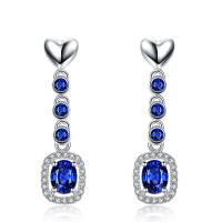 Real 18k Gold Gemstone Earrings Blue Sapphire Gemstone Earrings With Diamond Manufactures