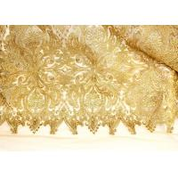 Fashion Floral Pattern Gold Lurex Nylon Lace Fabric for Party / Banquet Dress Manufactures