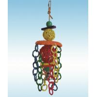 natural vine parrot toys 17 inches twin balls and chains on hat for conure Manufactures