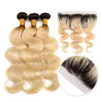 10A Grade 100% Peruvian Ombre Human Hair Extensions 1B / 613 Blonde Color Manufactures
