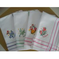 China Cute Floral Tea Towels With Embroidered Logo , Custom Printed Tea Towels  on sale