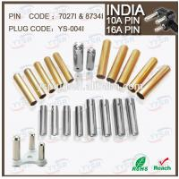 China 7027I 8734I 10amp 16amp soldering type India plug schuko pin (7.06mm 8.7mm brass switches on sale