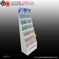 Customized corrugated cardboard full color floor display stand with hooks Manufactures