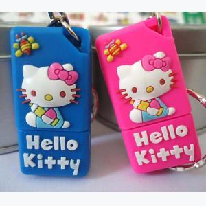8GB Hello Kitty Cartoon USB Flash Drives, Cat Soft PVC USB Stick Manufactures