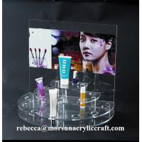 China Counter make-up display clear acrylic cosmetic display stand with poster on sale