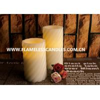 China Swirl Pattern LED Flameless Pillar Candles With Straight Edge for Christmas Decoration on sale