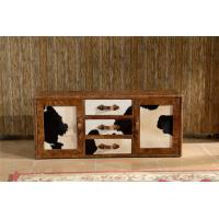China Vintage Milk Cow Leather TV Stand Plywood Frame With Buffer Guide Drawers on sale
