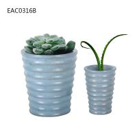 Drainer Screw Thread Blue Concrete Vase Cylinder Decorative Two Size Manufactures