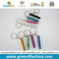 China Promotional Metal Stick Whistle in Different Colors W/Split Ring Keychains on sale