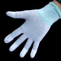 Electronic Use Carbon Fiber Gloves PU Fingertip Coated Knit Wrist / Seamless Manufactures
