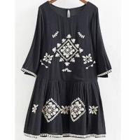 A Line Neckline Black Floral Embroidered Midi Dress , Flower Embroidered Dress Manufactures