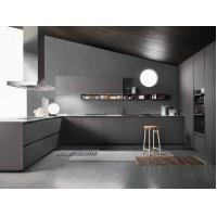 Gray Modern Simple Kitchen Cabinet Customized MFC / PETG Door Panel Manufactures