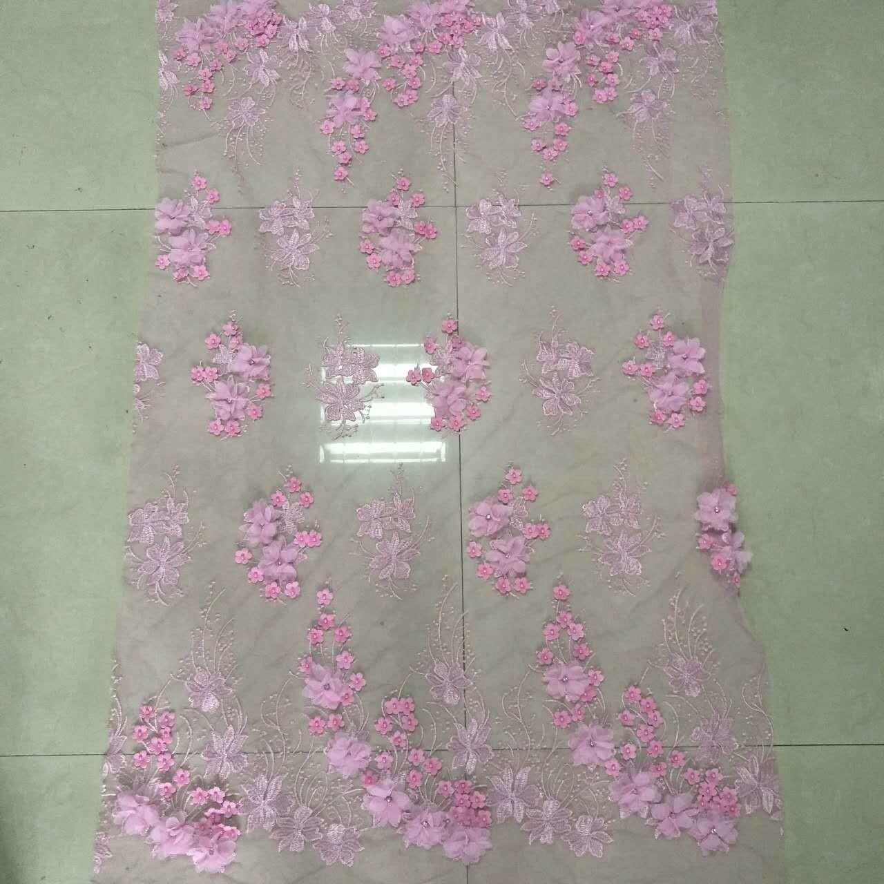 3D Flower Applique Embroidery Lace Fabric  with bead and rhinestone Manufactures