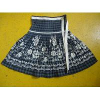 100% Cotton Little Girl Floral Dress , Ribbons Waist Girls Pleated Skirt For Age 7 Manufactures