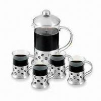 Coffee Plunger Set, Composed of 1pc 6,000mL Tea Pot + 4pcs 200mL Cup Manufactures