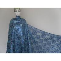 Heavy African Organza Lace Fabric , Blue Embroidered lace fabric Manufactures