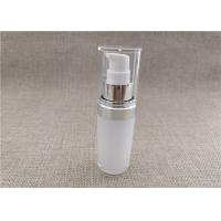 China White Acrylic Dispenser Bottles , Straight Round Airless Lotion Pump Bottles on sale