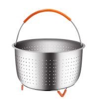 304 Stainless Steel Vegetable Steamer Basket For Pressure Cooker With Removable Silicone Handle Manufactures