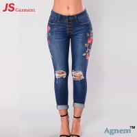 Fashion Street Design Skinny Jeans Pants Tight Elastic Nine Points Length