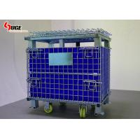 Returnable Wire Mesh Steel Storage Cargo Pallet Cages Box With Pp Sheet Manufactures