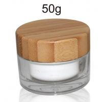 50ml cosmetic acrylic jar with nature bamboo cap Manufactures