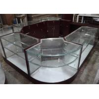 Crystal Tempered Glass Jewelry Kiosk Furniture Full View Round Shape With Lights Manufactures