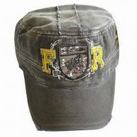 Army Cap, Made of 100% Cotton Twill Fabric, Hook-and-loop Closure Manufactures
