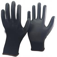 13 Gauge Knitted Black Polyurethane Work Gloves Dipped Working Gloves For Construction Manufactures