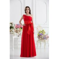 Gorgeous One Shoulder Red Chiffon Floor Length Evening Dress Party Gowns Bow Manufactures