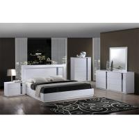 King Size High Gloss Bedroom Furniture Set Lacquer Painting With White / Blue Color Manufactures
