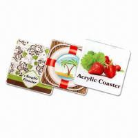 9cm Rectangular Coasters, Made of 5mm Thick Acrylic with CMYK Logo and Visual Manufactures