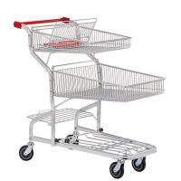 China PU wheel Supermarket Shopping Trolleys on wheels Warehouse Series HBE-W-17 on sale